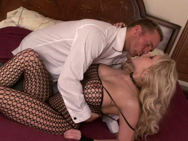 Busty blonde mature hoe in fishnets outfit Candy gets pussy fingered by a horny stud