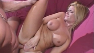 Busty blonde milf Faith Grant getting anally fucked by a huge dick from behind