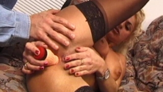 Busty Blonde Wife In Stockings Dildoing Her Wet Snatch On The Couch