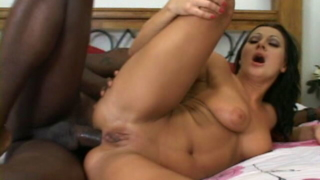 Busty brunette goddess Sandra Romain gets ass fucked by a giant black cock