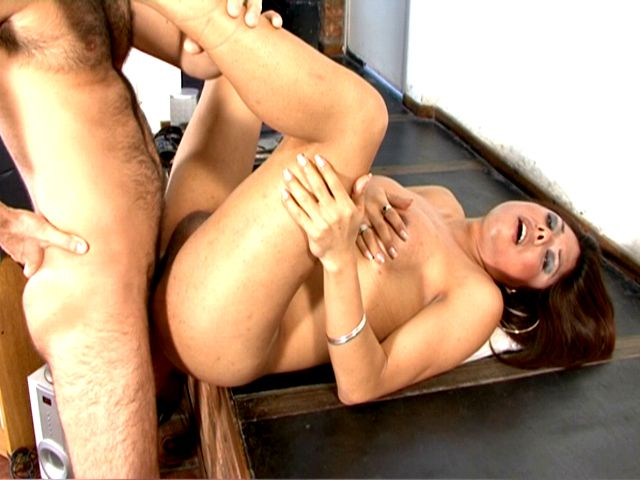 Busty brunette tranny whore Selia getting arse pounded by a big shaft