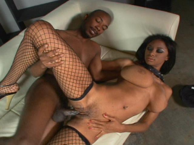 Busty ebony model Tyra Moore goes on her back and gets her pussy fucked