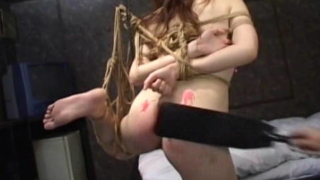 Candle Wax Splashed On Naked Rope Bound Woman