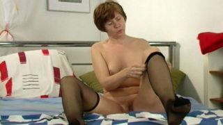Captivating Redhead Granny Anna Playing With Her Wet Cooter And Small Tits