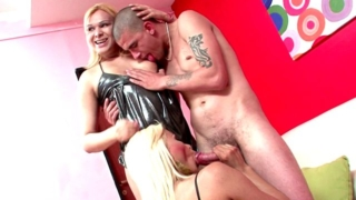 Charming Blonde Shemale Sluts Sharon And Sheyna Sucking A Massive Cock In A Threesome