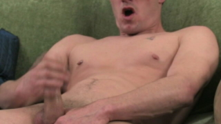 Charming Brunette Gay Masturbating His Immense Shaft On The Couch