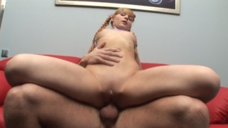 Charming pug-nosed blonde groans on a huge dick