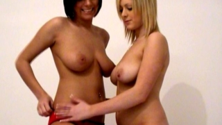Chesty amateur British schoolgirls Jessica and Claire sharing a big dildo on camera