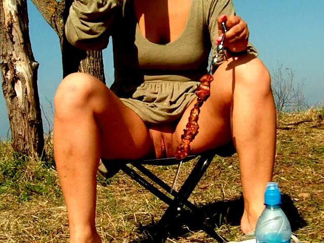 Chesty amateur wife in mini dress Dasha sucking and jerking her husband Max's dick at a picnic