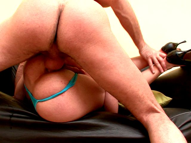 Chesty redhead shemale bitch Karla licking a dude's body and giving oral sex on her knees Shemale Lolipops XXX Porn Tube Video Image