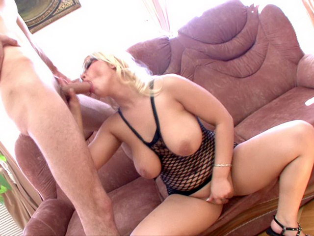 Chubby boobed blonde Russian whore in glasses Lulu eats a giant dick