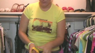 Chubby teen cutie Christy trying her new yellow shoes in the closet