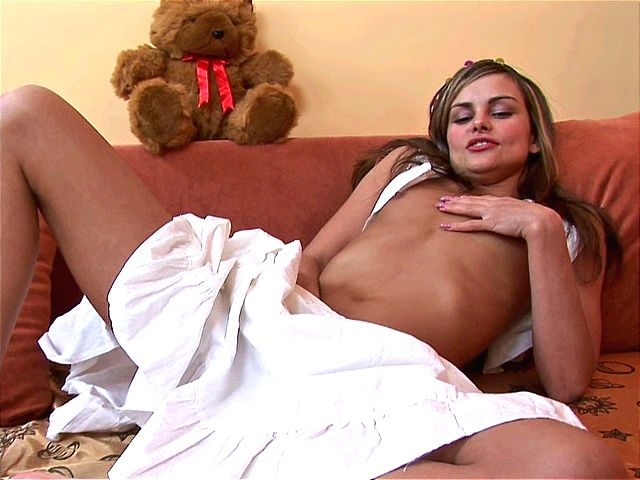 Corrupting amateur honey fingering her little cunny under her skirt