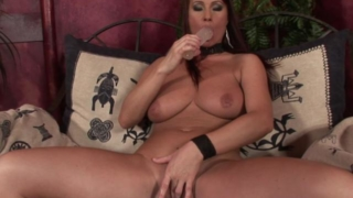 Corrupting brunette wife with big jugs slurps a fat dildo and fingers slit