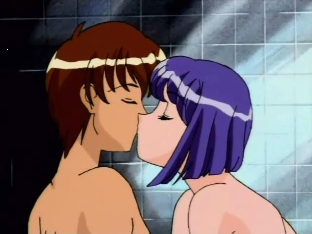 Corrupting hentai nymphet licking her boyfriend`s body