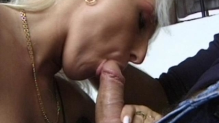 Curvaceous blond amateur babe sucking a giant cock on her knees