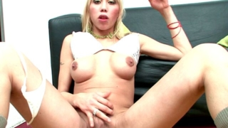 Cute and trashy blonde shemale babes Tania And Yanina lick their tits and wank cocks