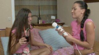 Cute brunette teen lesbians Hanna And Vera drinking beer and having fun with their new toys