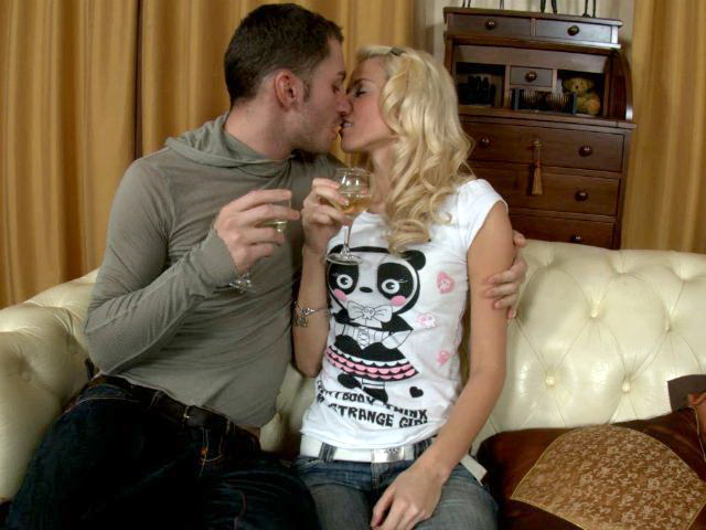 Cutie blonde amateur girl Elin getting small breasts massaged on the couch