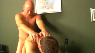 Cutie Brown Haired Gay Luke Gets Anally Fucked Doggy On The Table By A Bald Hunk