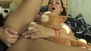 Cutie brunette teen siren fingering her shaved beaver