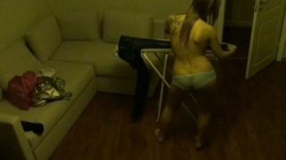 Cutie brunette voyeur babe Viola iron her clothes