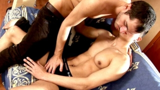 Cutie brunette young gay Dmitry gets ass toyed deep by Tommy in doggy position