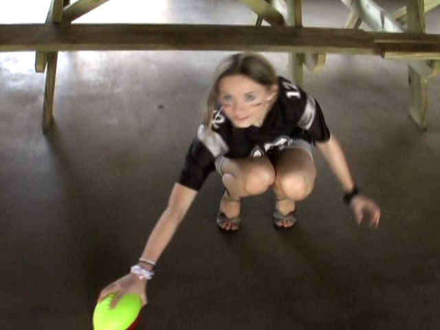 Cutie exgirlfriend minx Kitty playing football and showing her assets