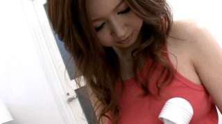 Cutie japan teenie doll Rika Aina vibrating her hot breasts underneath shirt