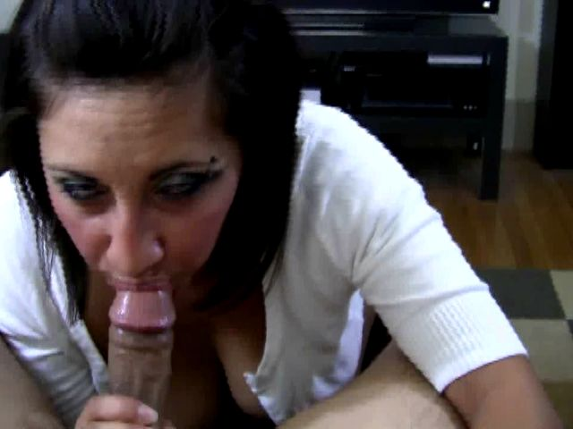 Dark haired exgirlfriend slut Renee sucking a long penis on the knees