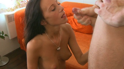 Dinara's nipples stick up under the orange t-shirt. 18 Virgin Sex XXX Porn Tube Video Image