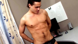 Dinky brunette gay Duke fingering his hairy asshole while jerking off his hard shaft at the desk