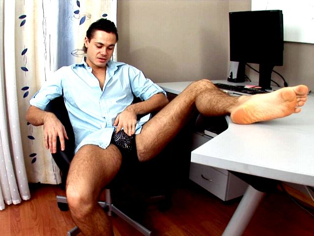 Dirty brunette gay Duke stripping erotically his briefs and spreading his sexy butthole on the desk