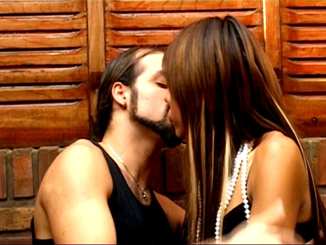 Elegant brunette tranny bitch Mina sucking and jerking a thick shaft outdoors
