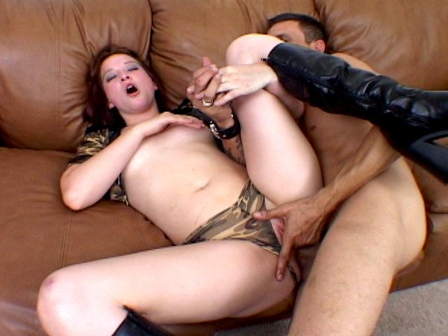 Enticing brunette army chick Ashley Haze gets ass fucked from behind