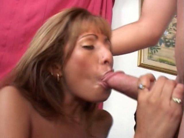 Erotic blonde milf Estrella Spangled sucking a giant cock head with lust