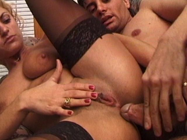 Erotic blonde wife in stockings getting anally slammed from behind