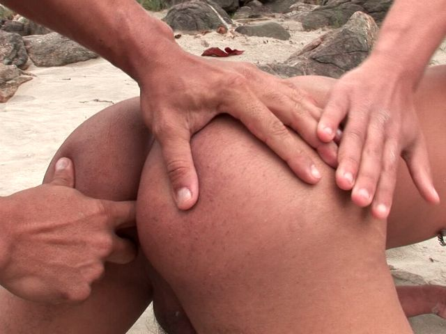 Erotic bronzed gays Christian Torquato And Junior Pavanello fingering their sexy buttholes on an island