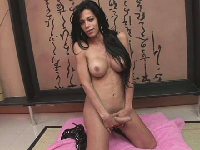 Erotic brunette shemale Isabella Ferraz shows big breasts and wanks her thick cock on the floor