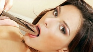 Euro Babe Swallowing a Dildo