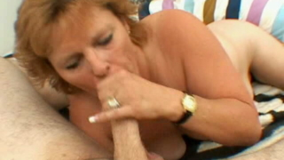 Excited Blonde Grandmother Megan Sucking A Big Young Prick With Lust