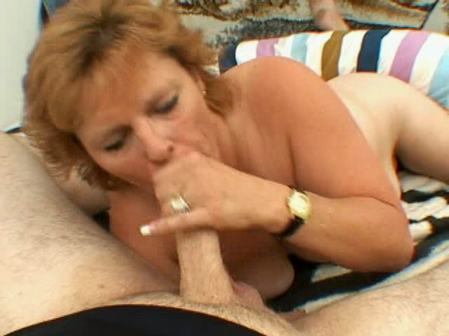 Excited blonde grandmother Megan sucking a big young prick with lust Is That Grandma XXX Porn Tube Video Image