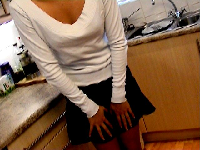 Excited brunette amateur British teen honey Sasha getting naughty in the kitchen
