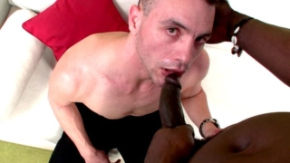 Excited brunette gay John slurping Canu's enormous black cock on his knees