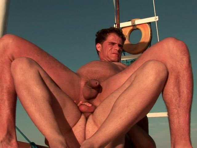 Excited brunette gays Arcanjo And Eduardo banging their tight assholes hard on a boat