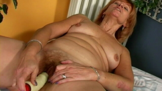 Excited Redhead Granny Lady Licking A Giant Dildo With Lust