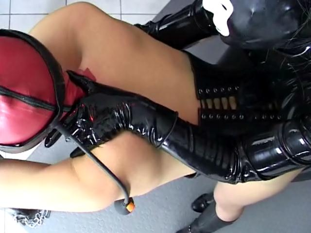Excited slave in leather corset getting fucked hard and giving blowjob Dungeon Masters XXX Porn Tube Video Image