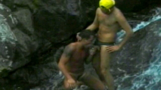 Exotic twink Eduardo sucking Cristiano`s massive cock in the waterfall