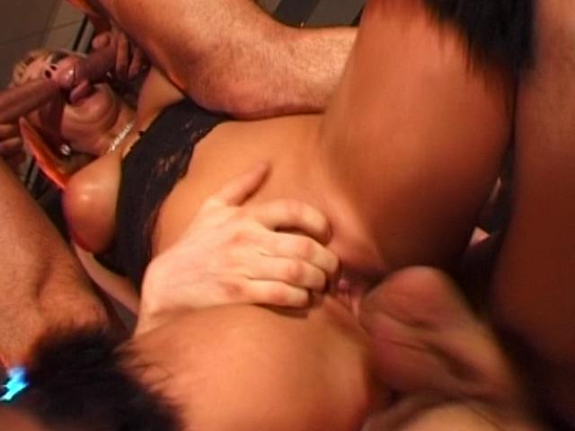 Experienced blond Czech slut fucking three huge cocks