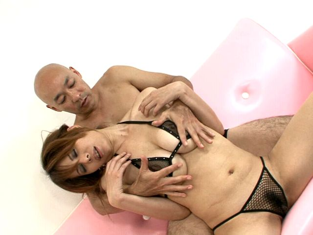 Fervid japanese princess in fishnets lingerie Moe Aizawa gets big tits licked and pussy fingered